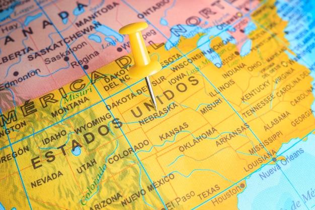 San jose épinglée sur une carte de l'amérique