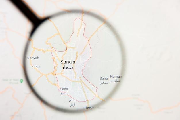 Sanaa, yémen, ville de visualisation concept illustratif sur l'écran d'affichage à travers la loupe