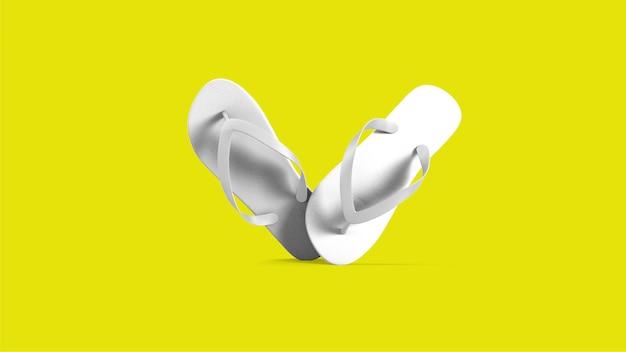 Sandales blanches tropicales isolées sur jaune