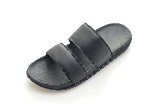 Sandales en cuir noir isolé sur fond blanc