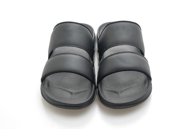 Sandales En Cuir Noir Isolées Photo Premium