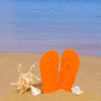 Sandales orange et coquillages dans le sable sur la plage