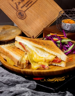 Sandwich au fromage fondu servi avec salade