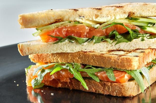 Sandwich au saumon fumé aux légumes dans l'assiette