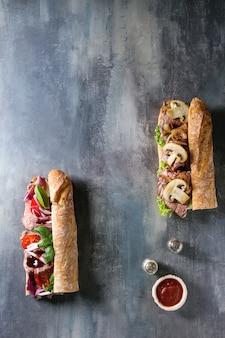 Sandwich à la baguette de boeuf