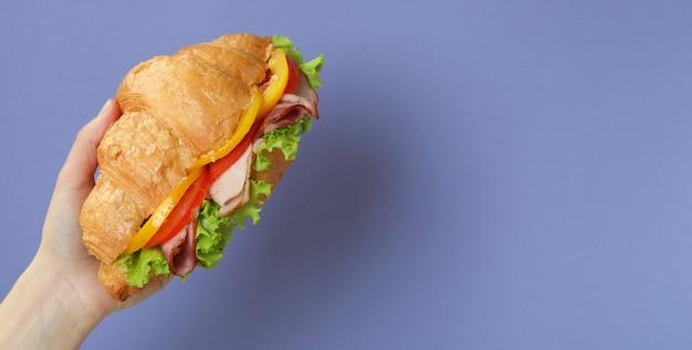 Sandwich croissant de prise de main femelle sur violet