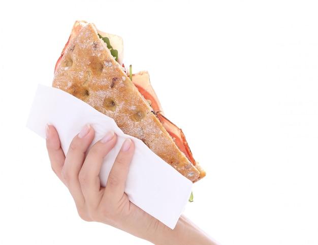 Sandwich dans une main