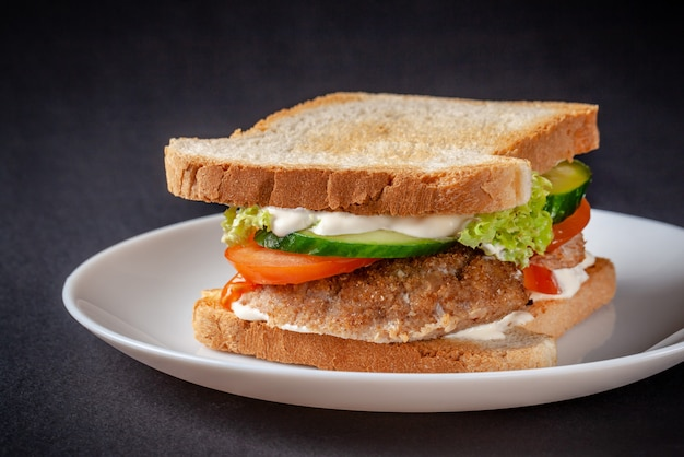 Sandwich fait maison de pain grillé.