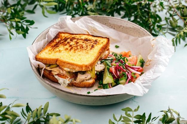 Sandwich frais appétissant avec salade de légumes