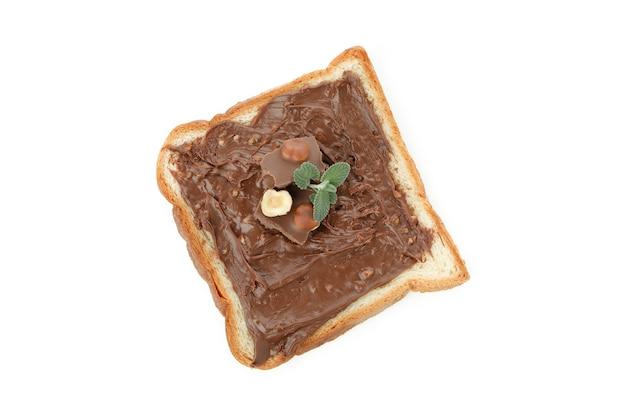Sandwich à la pâte de chocolat isolé sur fond blanc