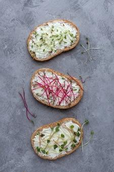Sandwiches au fromage et micro-verts sur une surface en béton