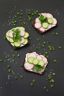Sandwiches aux radis, concombre sur un pain de seigle.