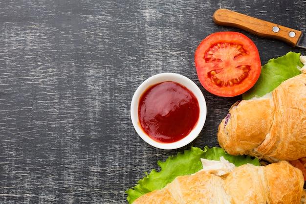 Sandwiches et espace de copie de ketchup