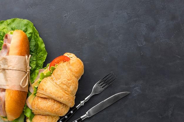 Sandwiches frais avec espace copie