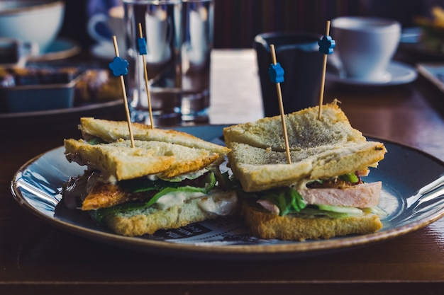 Sandwichs au poulet et aux herbes sur une assiette