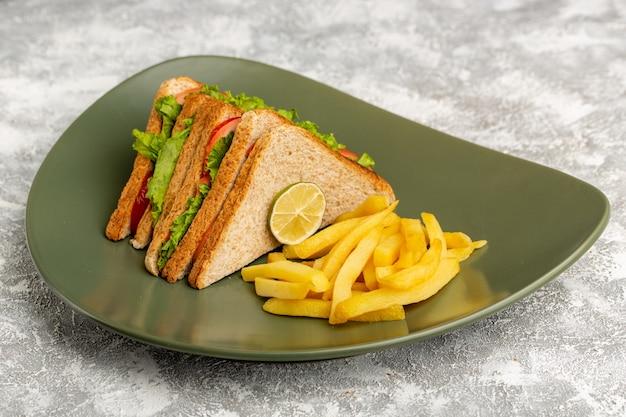 Sandwichs et frites à l'intérieur de la plaque verte sur fond gris