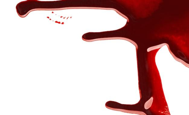 Le sang coule sur fond blanc