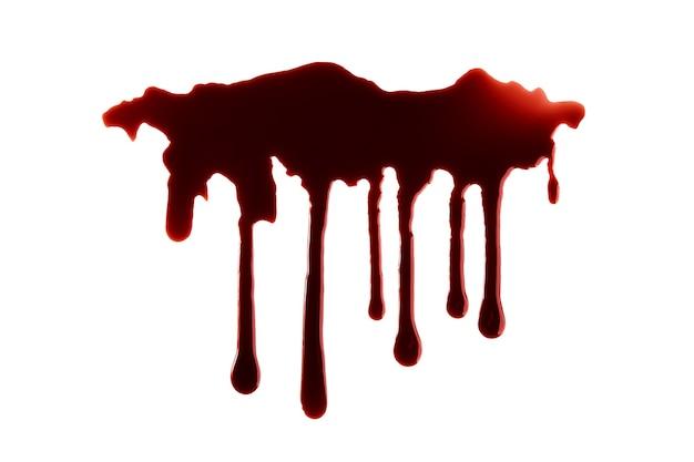 Sang dégoulinant avec un tracé de détourage isolé sur fond blanc