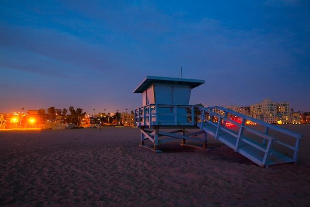Santa monica, californie, coucher soleil, tour de surveillance