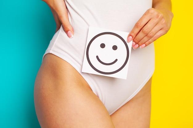 Santé des femmes, beau corps féminin en culotte avec carte de sourire.