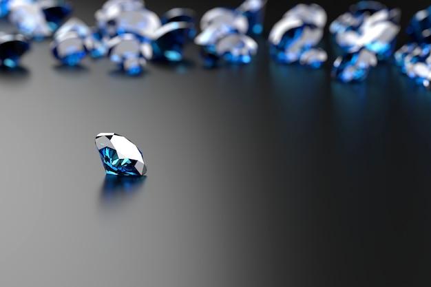 Saphir diamant bleu placé sur fond brillant objet principal focus rendu 3d