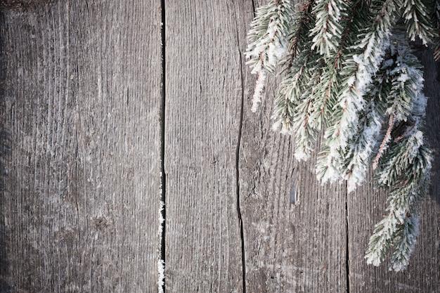 Sapin couvert de neige sur planche de bois