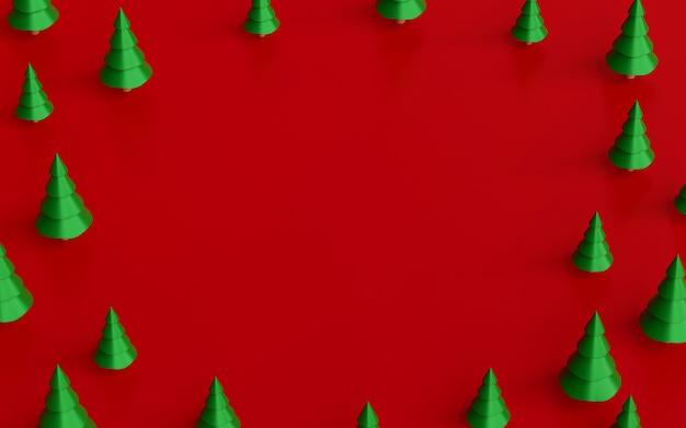 Sapin de noël avec un espace vide sur un fond rouge