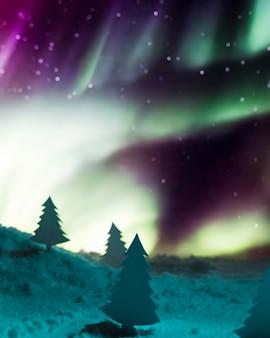 Sapin de noël avec neige et aurore boréale