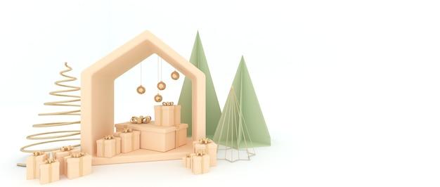 Sapin de noël avec petite maison boule de sphère dorée, une boîte-cadeau et un fond blanc. rendu 3d