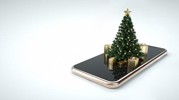 Sapin de noël sur smartphone