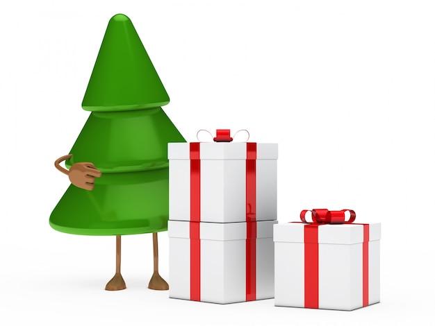 Sapin avec trois cadeaux de noël