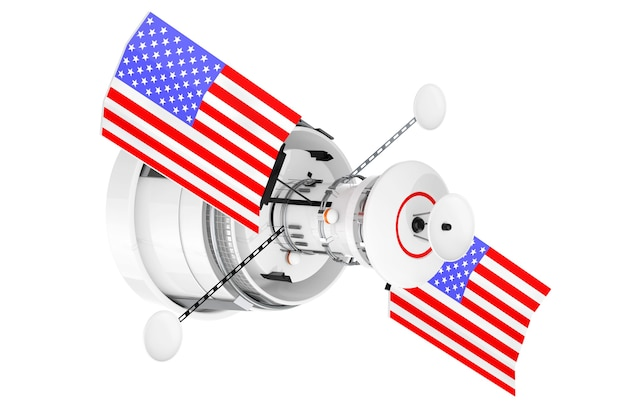 Satellite de navigation globale du monde moderne avec le drapeau des etats-unis sur un fond blanc. rendu 3d