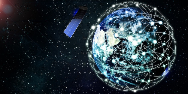 Les satellites internet en orbite autour du concept de communication de la technologie earth satellite