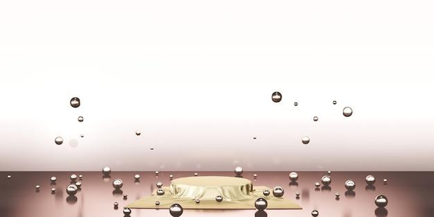 Satin brillant élégamment placé sur une étagère de plinthe vide produit de toile de fond de galerie de concept de luxe