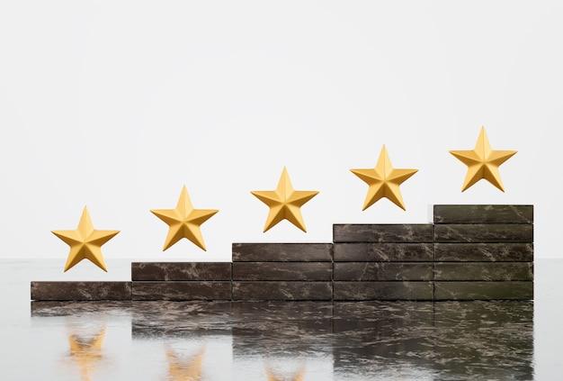 Satisfaction et service client avec un concept d'expérience de notation de forme cinq étoiles