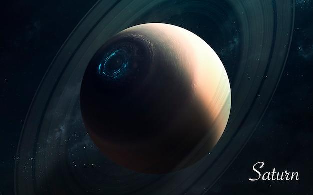 Saturne. planètes de qualité impressionnante du système solaire. image scientifique parfaite en 5k. éléments de cette image fournis par la nasa