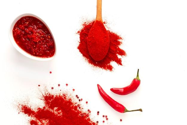 Sauce au poivre de poudre de piment de cuillère de poivre rouge chaud sur un foyer sélectif de fond blanc aucun peuple
