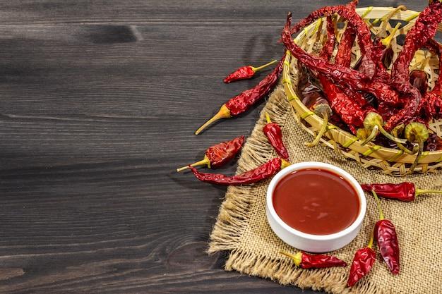 Sauce chili épicée dans un bol avec des piments forts