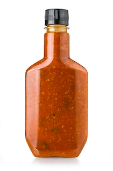 Sauces barbecue dans des bouteilles en verre