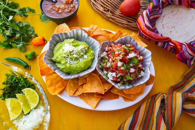 Sauces mexicaines au guacamole et au pico gallo