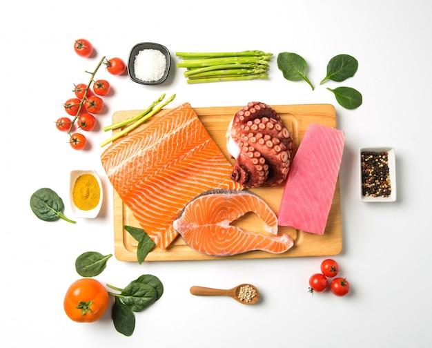 Saumon, aliments crus