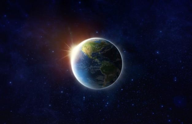 Sauvez notre monde. blue planet earth on space show amérique, états-unis, carte du monde, univers, champ d'étoiles dans l'espace, jour de la terre, sauvegarde de l'environnement, concept de l'éclipse de la terre. image de rendu 3d du monde fournie par la nasa