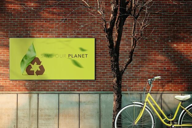 Sauvez la planètesoins de l'environnement et réduisez le carbone concept maid parking à vélos en ville