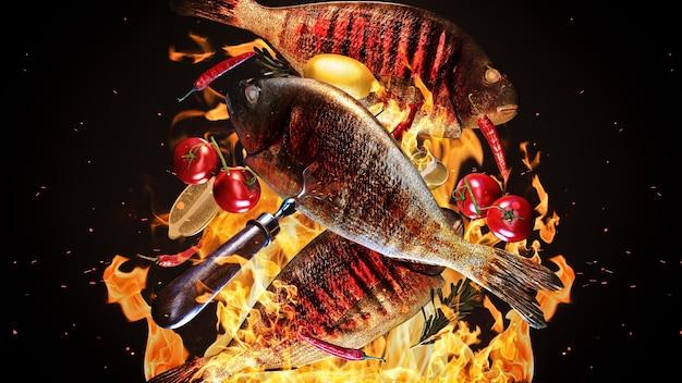 Savoureux poissons de mer volant dans l'air freeze motion barbecue concept rendu 3d