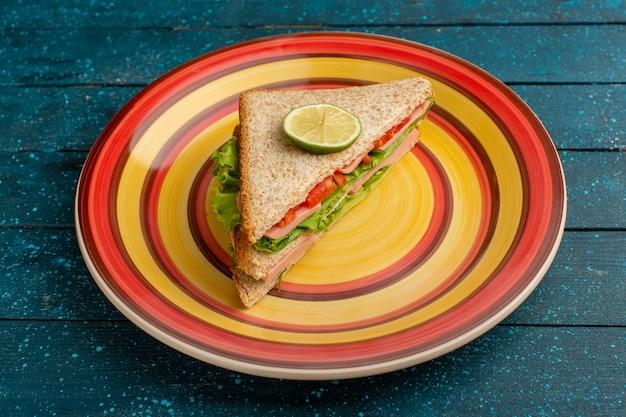 Savoureux sandwich avec salade de tomates vertes sur bleu