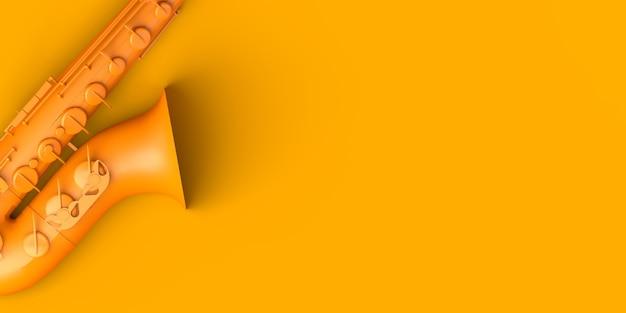 Saxophone sur fond jaune. espace de copie. illustration 3d.