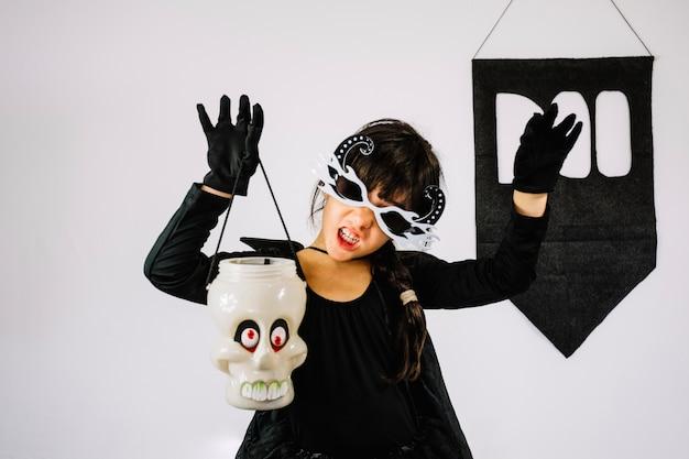 Scary girl in halloween costume