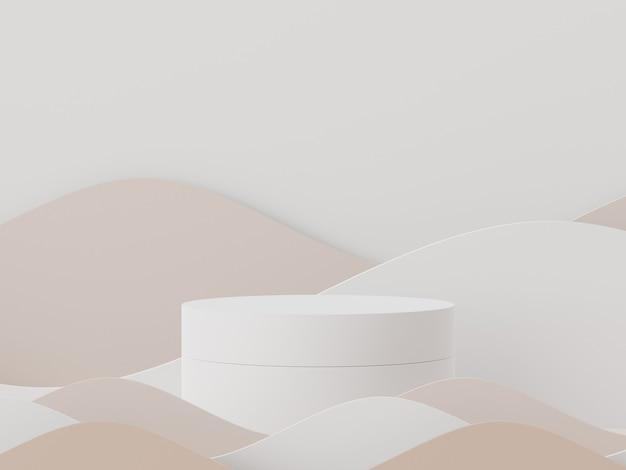Scène 3d d'affichages podium pour maquette et présentation de produits avec un fond de ton terre minimal
