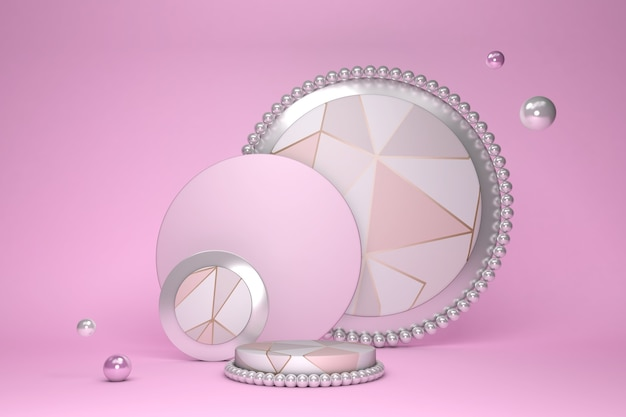 Scène 3d minimale abstraite avec des formes géométriques et un motif de triangle podium de cylindre rose couleurs pastel scène pour montrer des podructs cosmétiques vitrine vitrine rendu 3d