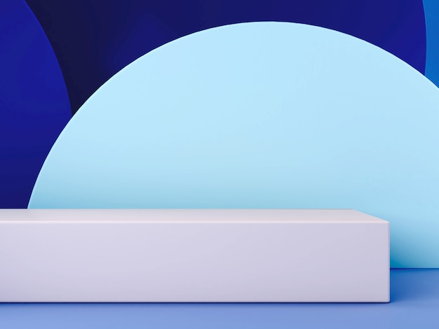 Scène 3d minimale avec podium et fond abstrait dans des couleurs bleues.